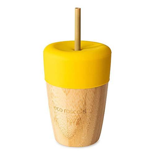 RASCALS Vaso Bamboo Eco 240 ml. + Tapa+ 2 PAJITAS, Niños, Amarillo, Talla Única
