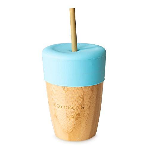 RASCALS Vaso Bamboo Eco 240 ml. + Tapa+ 2 PAJITAS, Niños, Azul, Talla Única